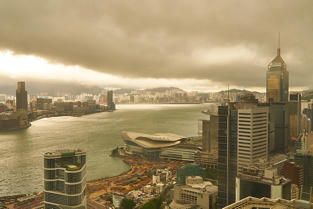 Hong Kong skyline and Victoria Harbour on a stormy day, Hong Kong, China, Asia
