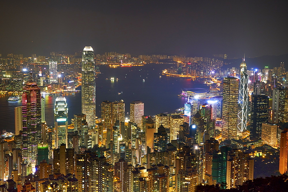 City skyline viewed from Victoria Peak by night, Hong Kong, China, Asia