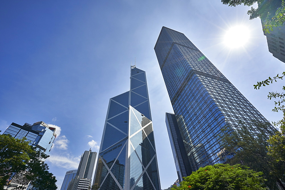 Bank of China Building and Cheung Kong Centre towers in Central, Hong Kong Island's financial district, Hong Kong, China, Asia