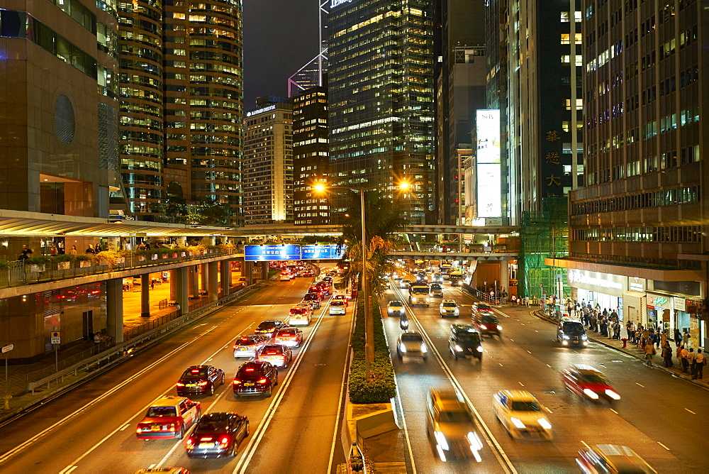 Rush hour traffic in Central, Hong Kong Island, Hong Kong, China, Asia