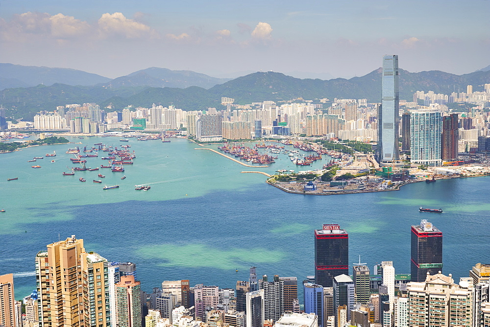 New Yau Ma Tei Typhoon Shelter and city skyline, viewed from Victoria Peak, Hong Kong