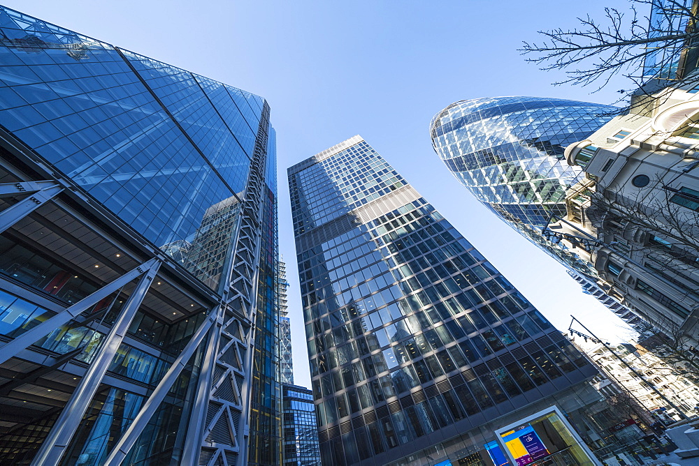 Financial district skyscrapers, including 30 St Mary Axe, known as the Gherkin and the Leadenhall Building known as the Cheesegrater. City of London, London, England