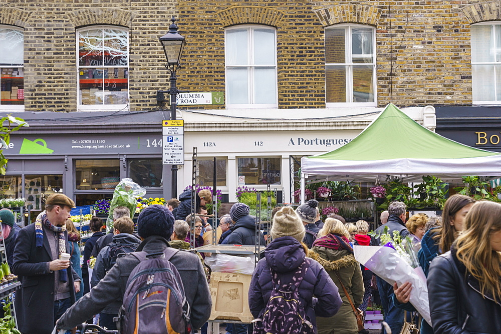 Columbia Road Flower Market, a very popular Sunday market between Hoxton and Bethnal Green in East London.