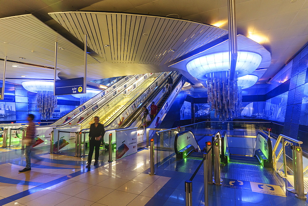 Interior of a metro station, Dubai, United Arab Emirates, Middle East