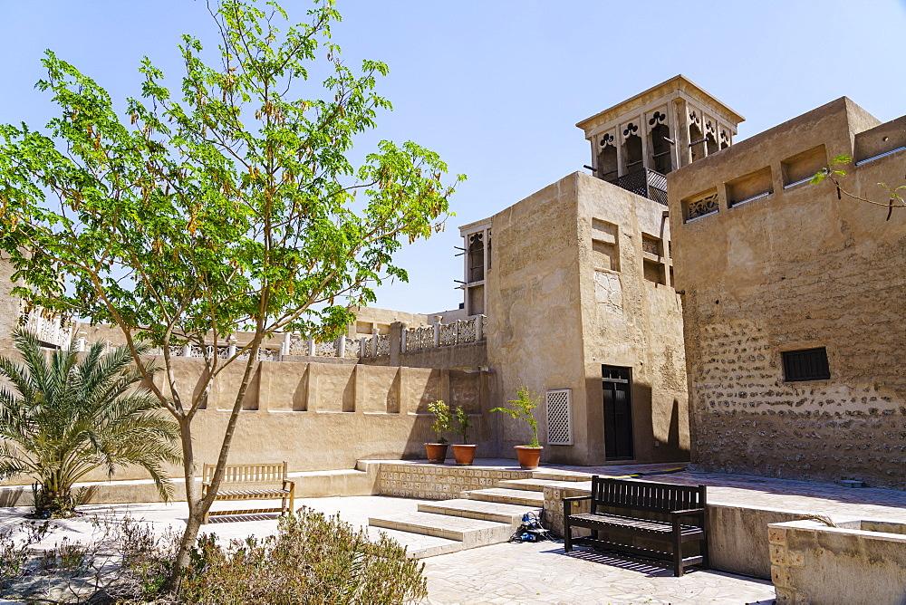 Restored traditional houses in Al Fahidi Historic Neighbourhood, Bur Dubai, Dubai, United Arab Emirates, Middle East