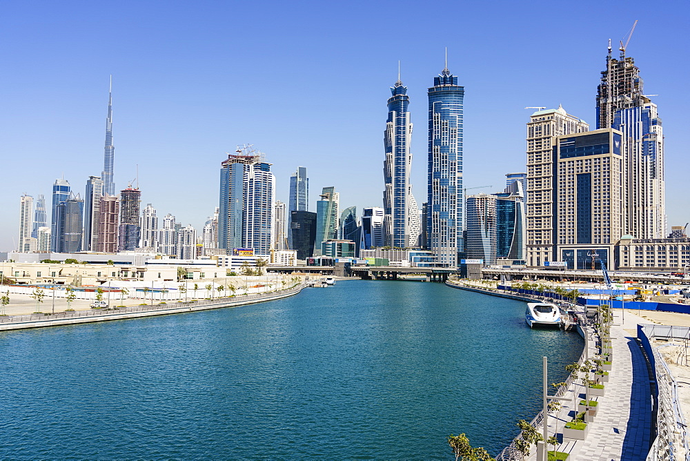 Dubai skyline from Dubai Water Canal, Business Bay, Dubai, United Arab Emirates, Middle East