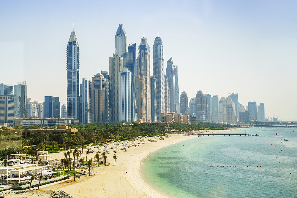 The skyscrapers of Dubai Marina and beach front, Dubai, United Arab Emirates, Middle East