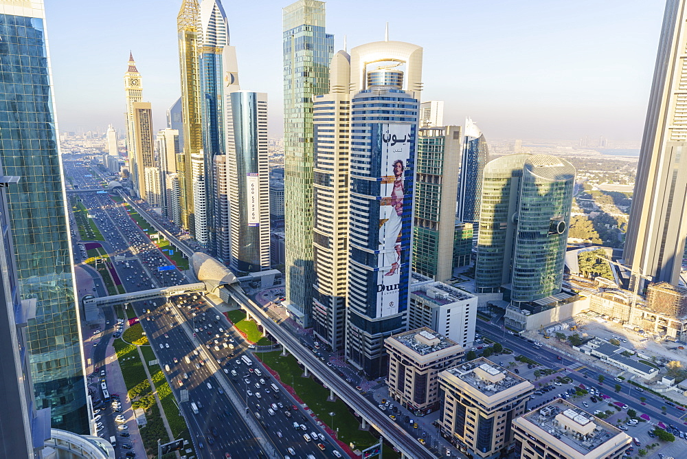 Skyscrapers along Sheikh Zayed Road, Financial Centre, Dubai, United Arab Emirates