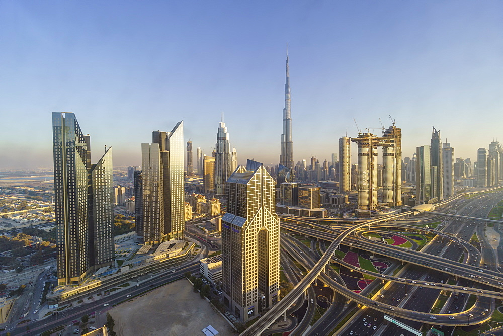 Dubai skyline and Sheikh Zayed Road Interchange, Dubai, United Arab Emirates Dubai, United Arab Emirates, Middle East