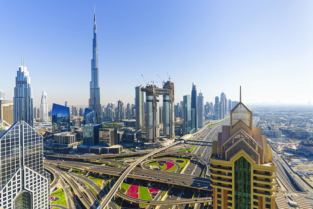 Dubai skyline and Sheikh Zayed Road Interchange, Dubai, United Arab Emirates, Middle East - 1226-665