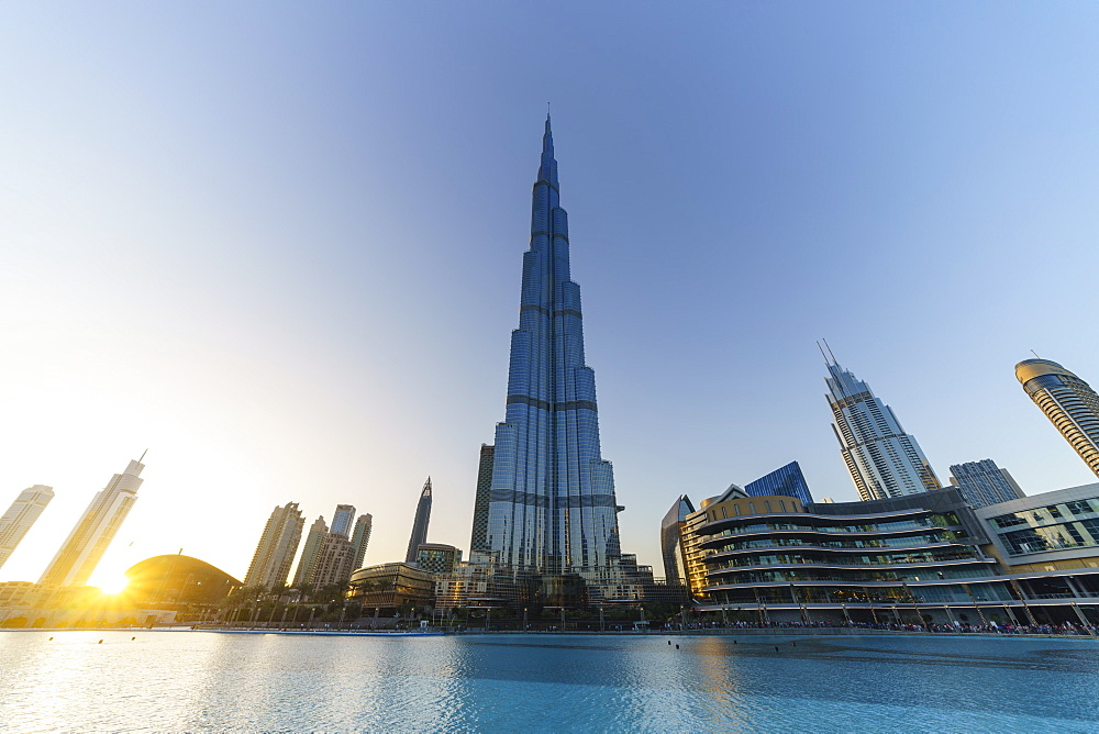 Burj Khalifa and Lake at sunset, Dubai, United Arab Emirates, Middle East