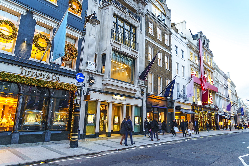 New Bond Street, one of London's most prestigious shopping streets, at Christmas time, London, England