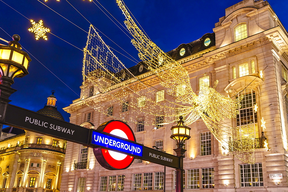 Christmas decorations at Piccadilly Circus, London, England, United Kingdom, Europe - 1226-736