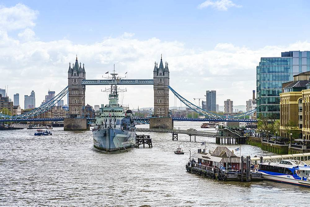 Tower Bridge with HMS Belfast in the foreground, River Thames, London, England