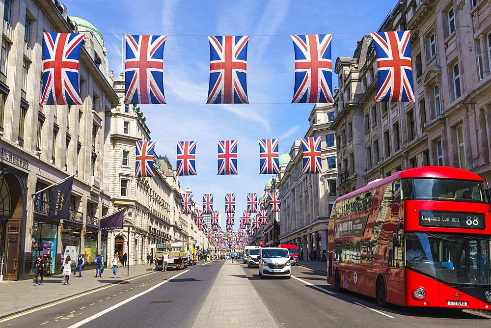 Union flags flying in Regent Street, London, W1, England, United Kingdom, Europe - 1226-748