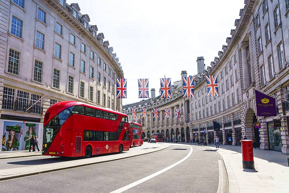 Union flags flying in Regent Street, London, W1, england