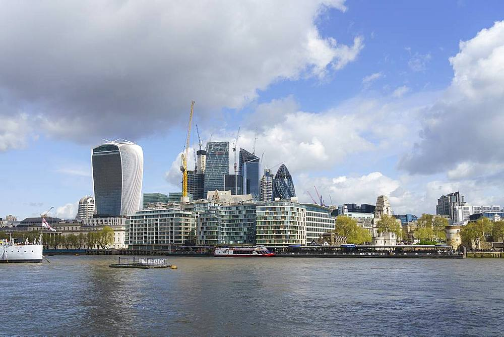 City of London financial district skyline viewed from the South bank of the River Thames, London, England, United Kingdom, Europe - 1226-758