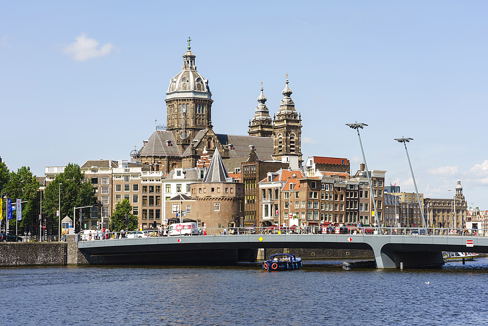 City view with St. Nicholas Church, Amsterdam, North Holland, The Netherlands, Europe