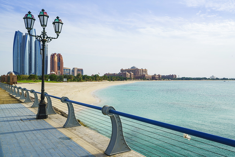 View from the Breakwater towards Etihad Towers and Emirates Palace Hotel and beach, Abu Dhabi, United Arab Emirates, Middle East