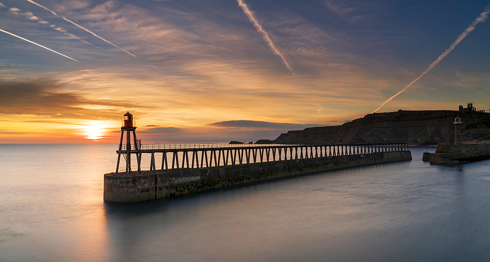 Sunrise over Whitby harbour and River Esk in mid-September, Yorkshire, England, United Kingdom, Europe - 1228-102