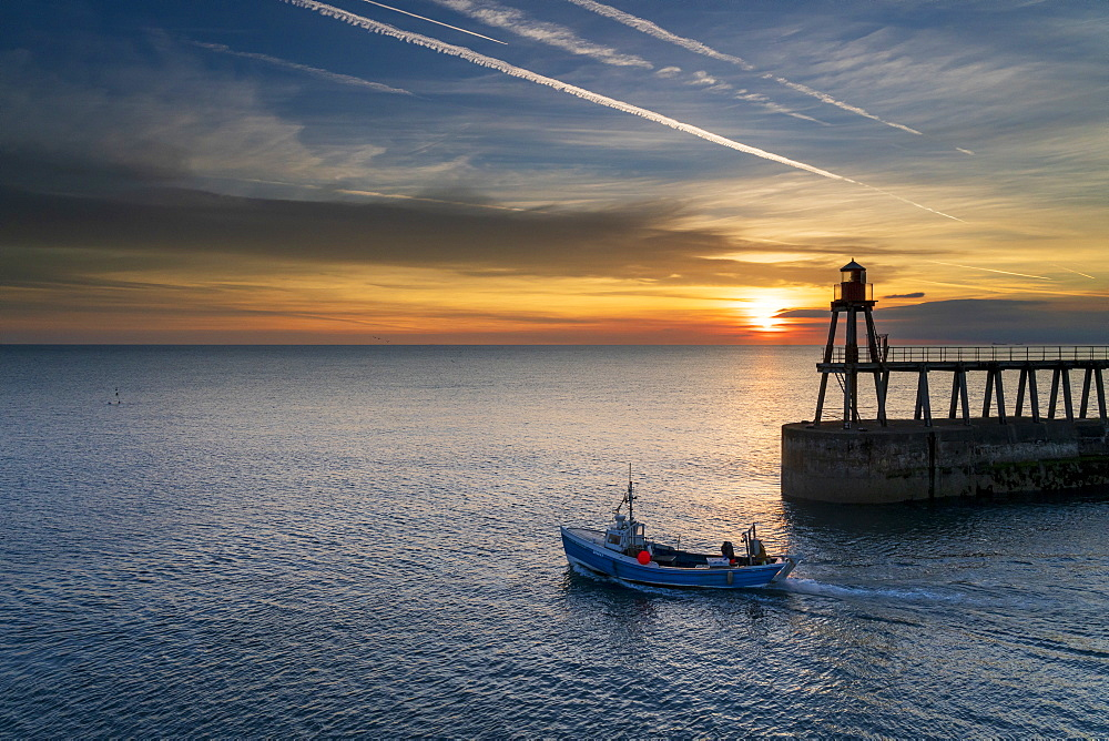 Sunrise over Whitby harbour and River Esk in mid-September, Yorkshire, England, United Kingdom, Europe - 1228-103
