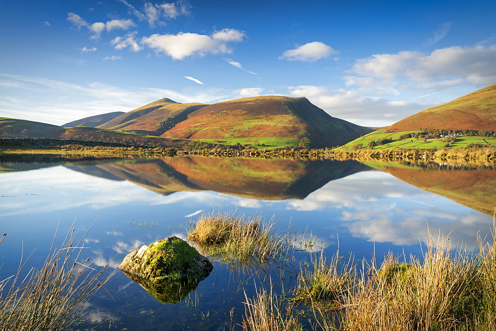 Skiddaw reflected in Tewet Tarn, Keswick, Lake District National Park, UNESCO World Heritage Site, Cumbria, England, United Kingdom, Europe - 1228-116