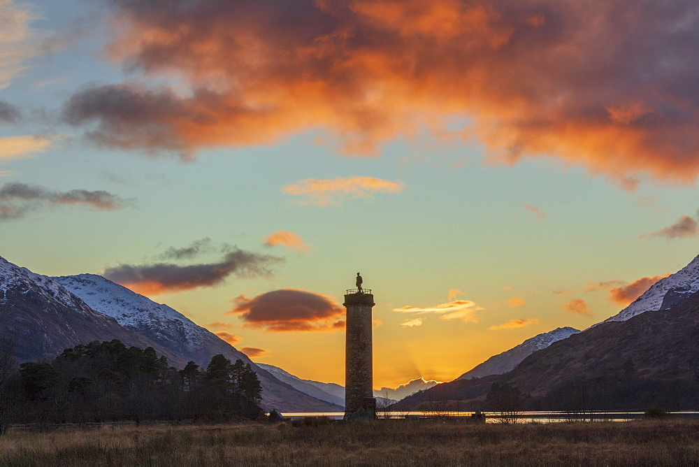 Sunset over Loch Shiel and the Glenfinnan Monument, Highland region, Scotland. - 1228-130