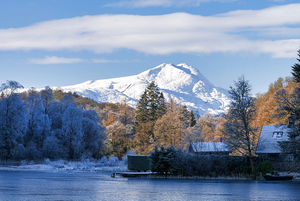 Loch Ard, Aberfoyle, and Ben Lomond in mid-winter, Loch Lomond and the Trossachs National Park, Scotland, United Kingdom, Europe - 1228-165