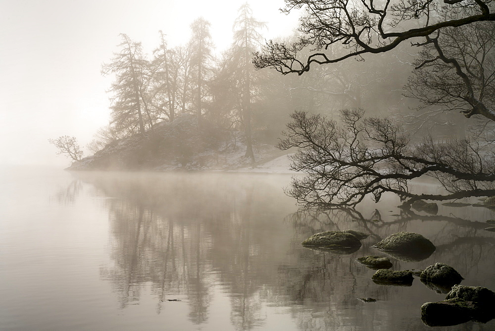 Mid-winter mist over Ullswater, The English Lake District, Cumbria, UK.