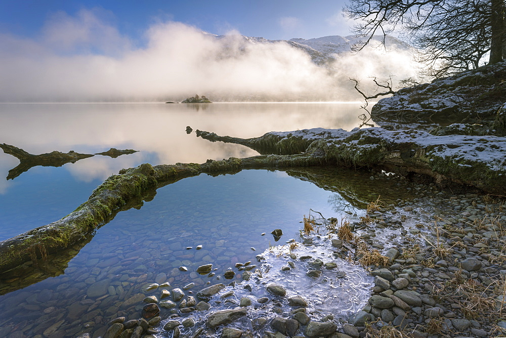 Norfolk Island shrouded in mist, Ullswater, Lake District National Park, UNESCO World Heritage Site, Cumbria, England, United Kingdom, Europe - 1228-183