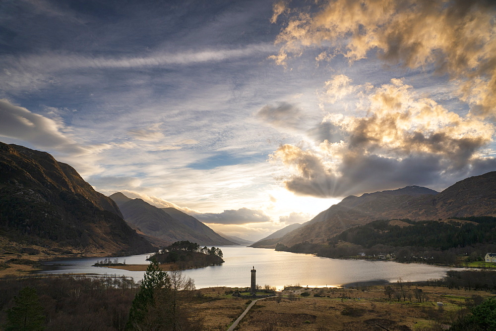Loch Shiel and the Glanfinnan Monument, Highland Region, Scotland, UK. - 1228-188