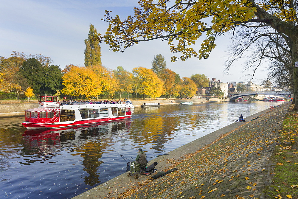 Autumn along the River Ouse in City Centre, York, Yorkshire, England, United Kingdom, Europe