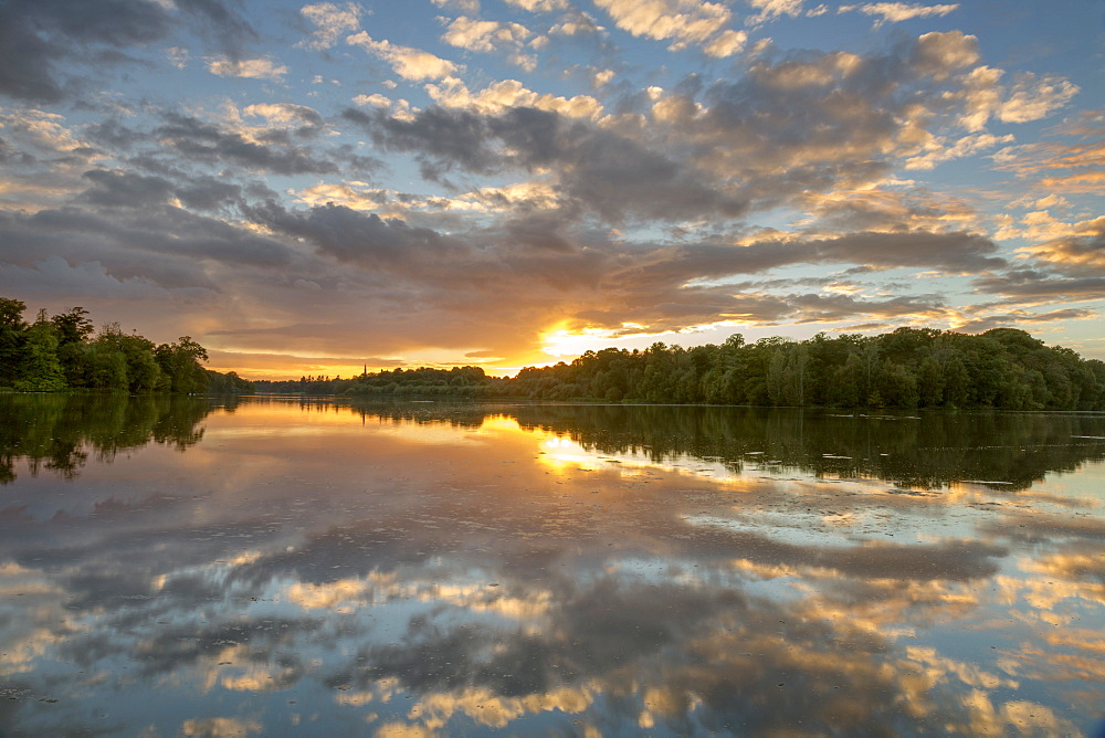 Clumber Park Lake sunset, Nottinghamshire, England, United Kingdom, Europe - 1228-41