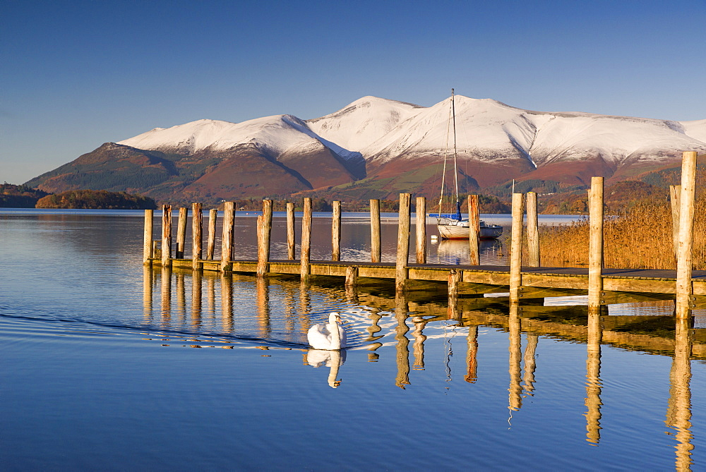 Derwent Water and snow capped Skiddaw from Lodor Hotel Jetty, Borrowdale, Lake District National Park, Cumbria, England, United Kingdom, Europe