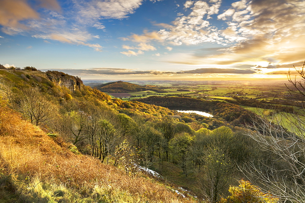 Lake Gormire and The Vale of York from Whitestone Cliffe, along The Cleveland Way, North Yorkshire, Yorkshire, England, United Kingdom, Europe