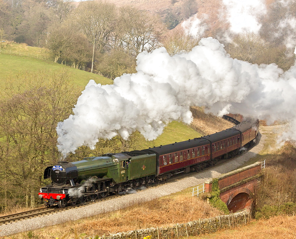 The Flying Scotsman steam locomotive arriving at Goathland station on the North Yorkshire Moors Railway, Yorkshire, England, United Kingdom, Europe