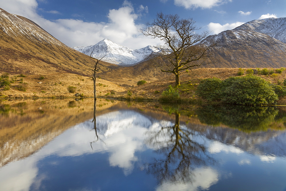 Tranquil loch reflection in Glen Etive, Glencoe, Highlands, Scotland, United Kingdom, Europe - 1228-66
