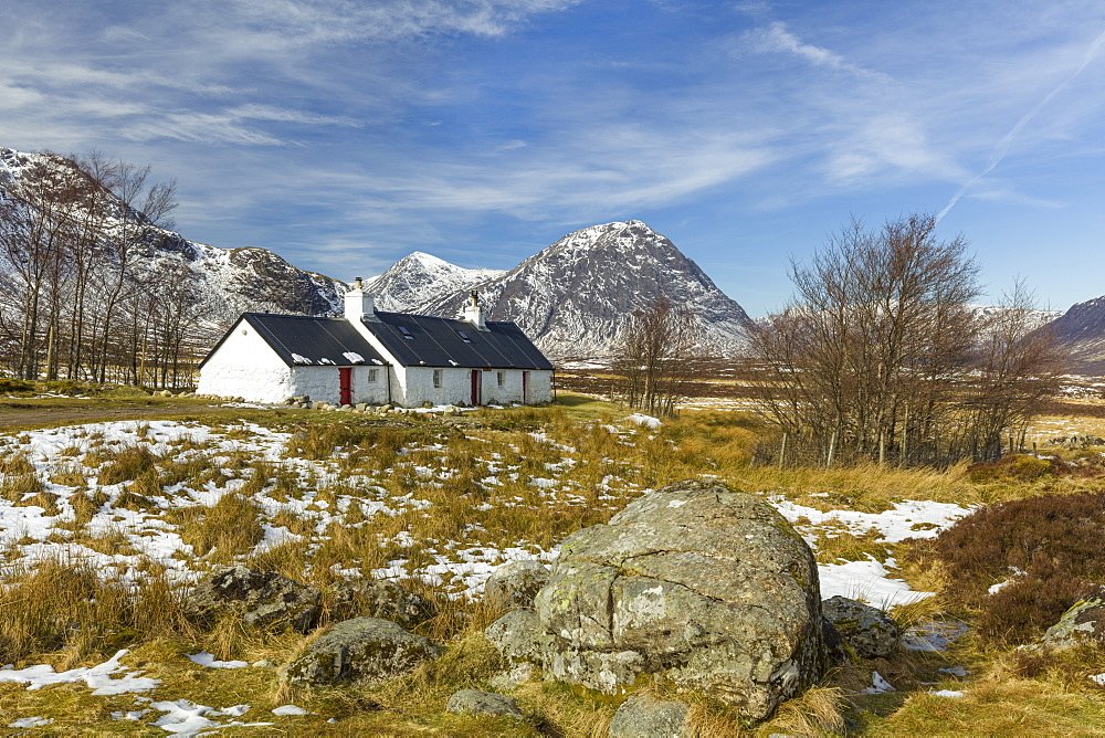 Black Rock Cottage and Buachaille Etive Mor, Glen Coe, Argyll and Bute, Scotland, United Kingdom, Europe