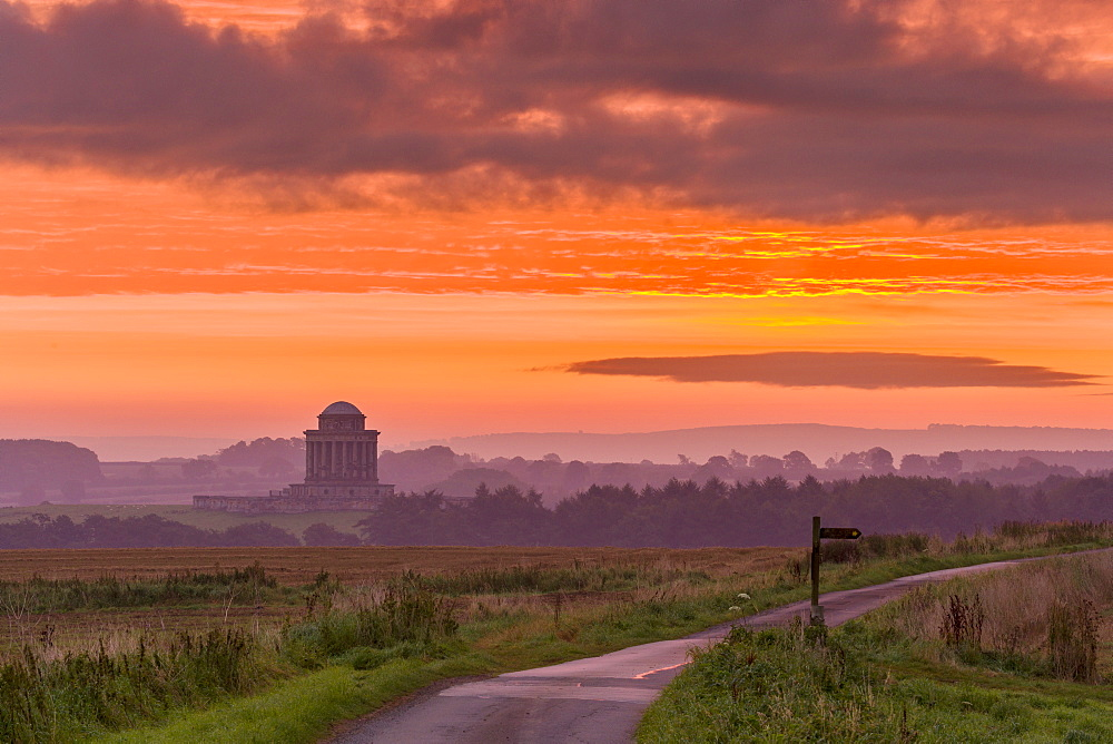 September sunrise over the Mausoleum on the Castle Howard Estate, North Yorkshire, Yorkshire, England, United Kingdom, Europe - 1228-75