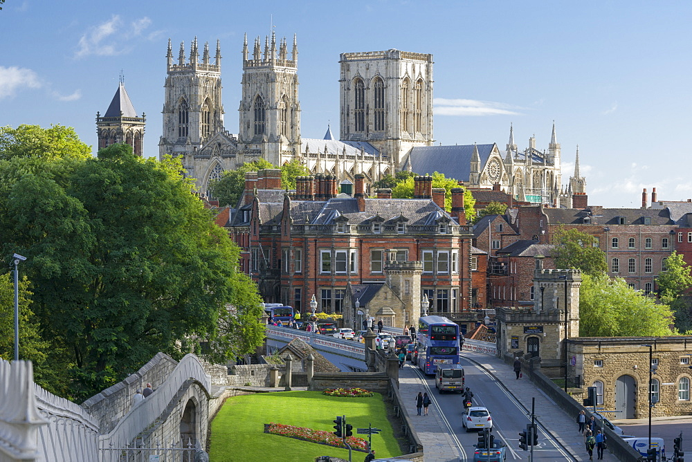 York Minster, Lendal Bridge and York's Bar Walls, York, Yorkshire, England, United Kingdom, Europe - 1228-76