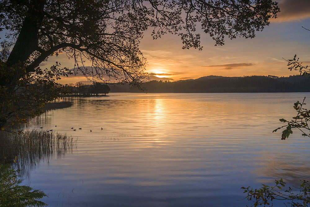 Sunrise over Kinlochard, Loch Ard, Aberfoyle, The Trossachs, Scotland, United Kingdom, Europe