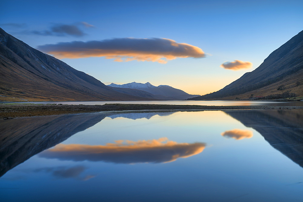 Sunset over Loch Etive, Argyll and Bute, Scotland, United Kingdom, Europe