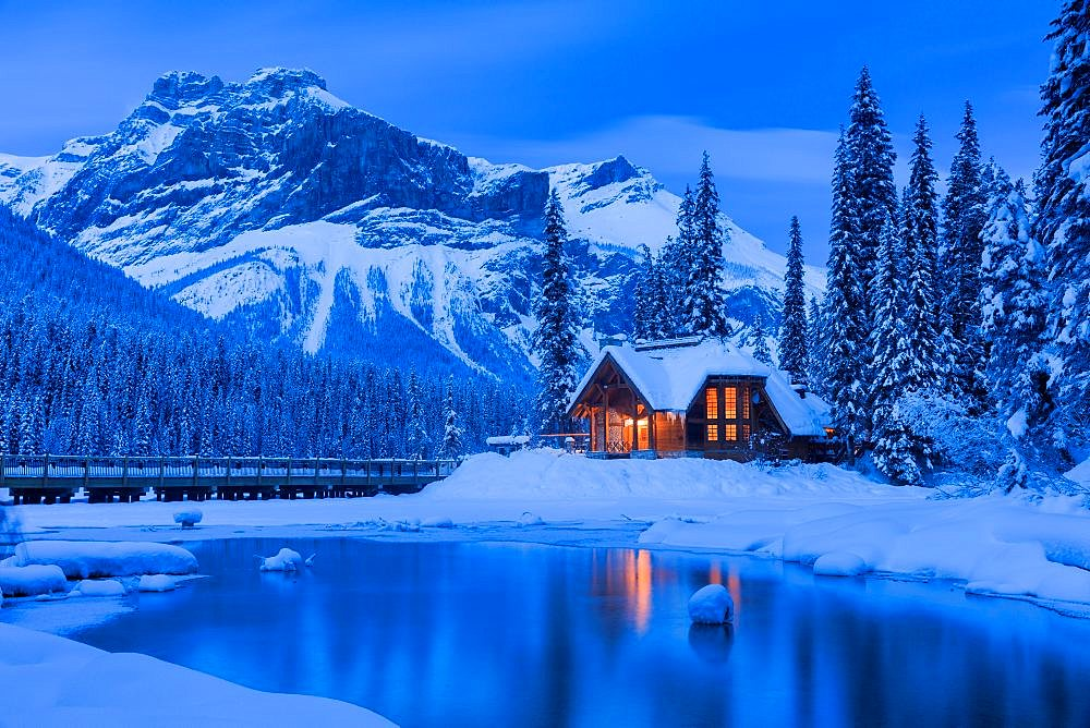Emerald Lake Lodge Cabin British Columbia Canada during the blue hour in mid-winter