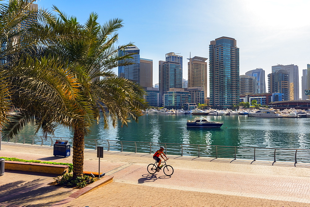 A lone cyclist rides along the waterfront, Dubai Marina, Dubai, United Arab Emirates, Middle East