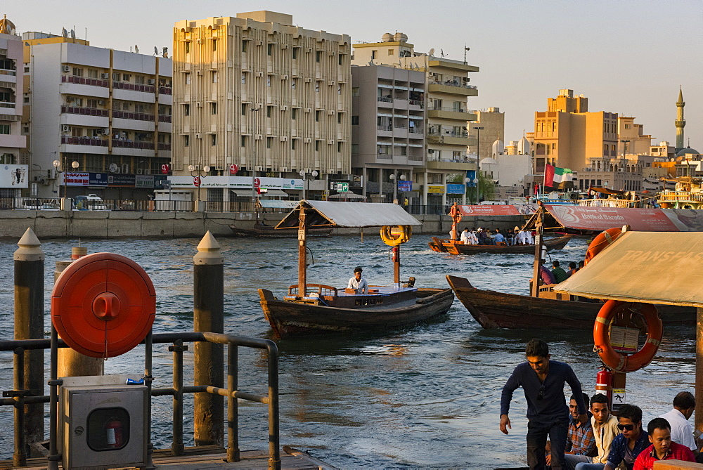 Water taxis carry passengers across Dubai Creek, Dubai, United Arab Emirates, Middle East - 1231-9