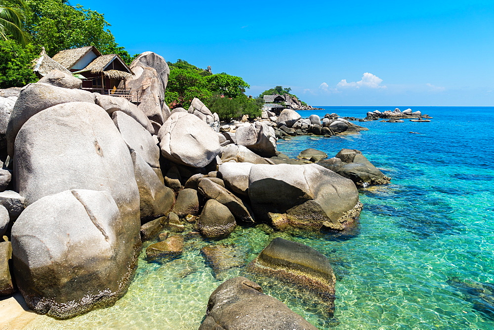 A bungalow has the perfect view on the shore in Koh Tao, Thailand, Southeast Asia, Asia