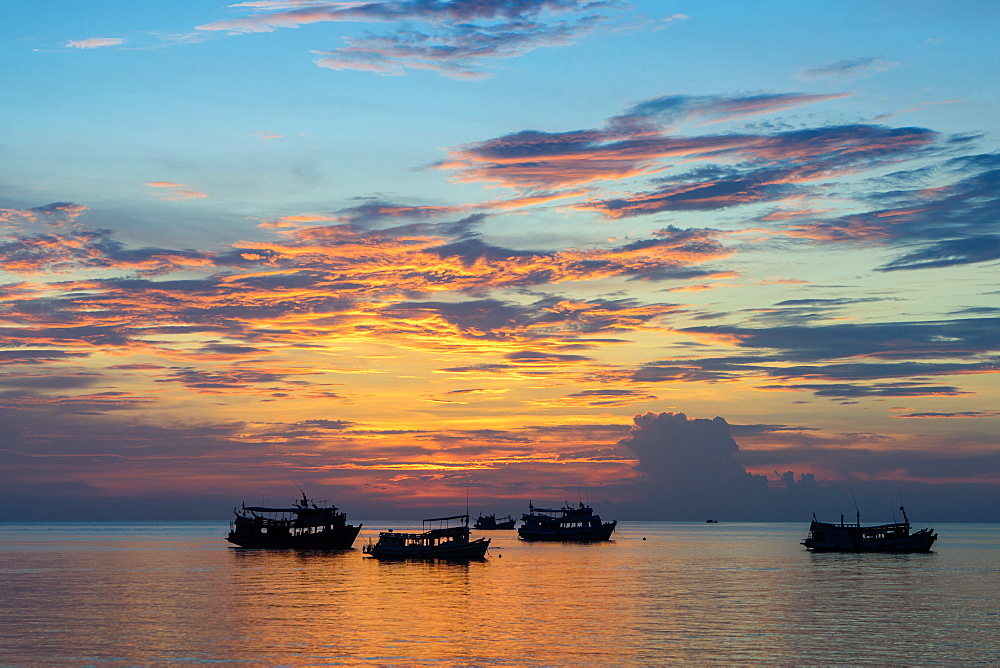 Sun sets over scuba diving boats in Koh Tao, Thailand, Southeast Asia, Asia - 1233-56