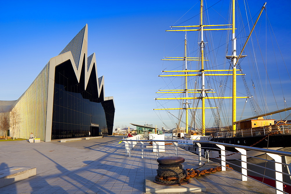 Riverside Museum and docked ship The Glenlee, River Clyde, Glasgow, Scotland, United Kingdom, Europe