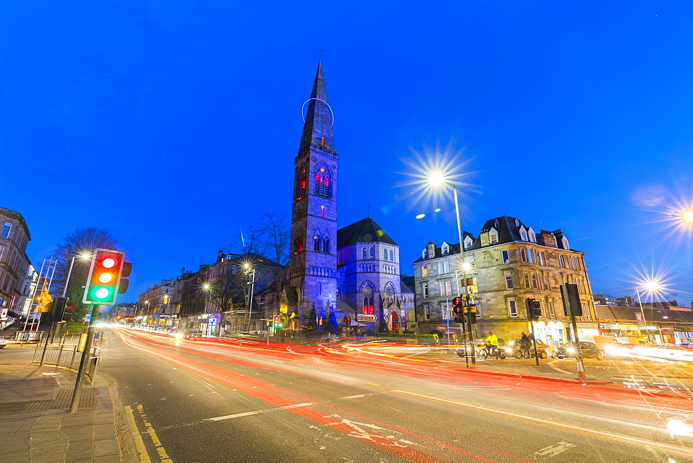 Great Western Road and Oran Mor at Glasgow West End, Glasgow, Scotland, United Kingdom, Europe