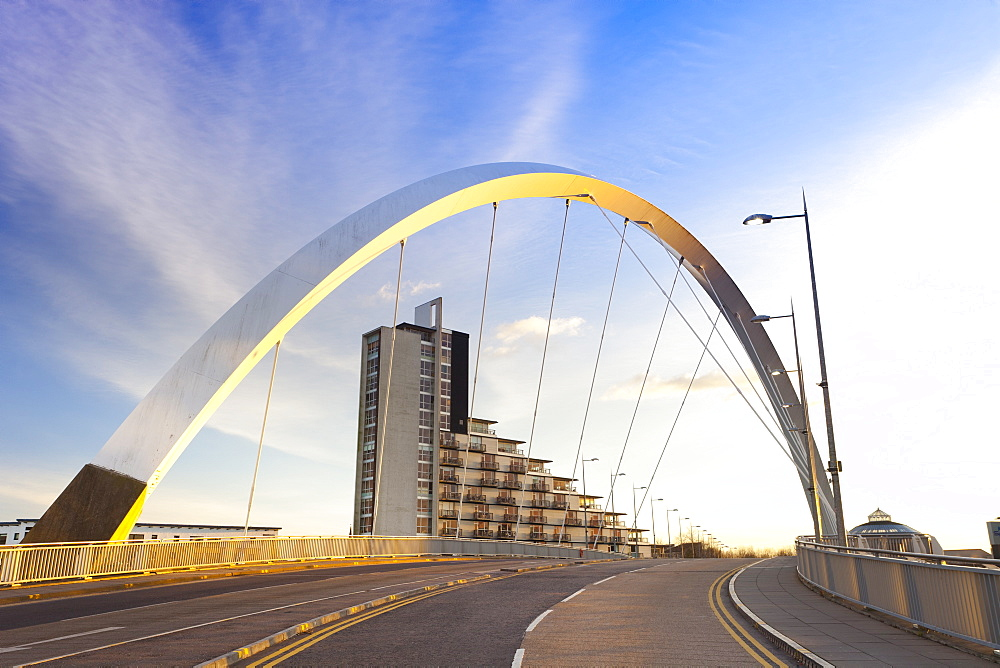 Clyde Arc (Squinty Bridge), Finnieston, River Clyde, Glasgow, Scotland, United Kingdom, Europe